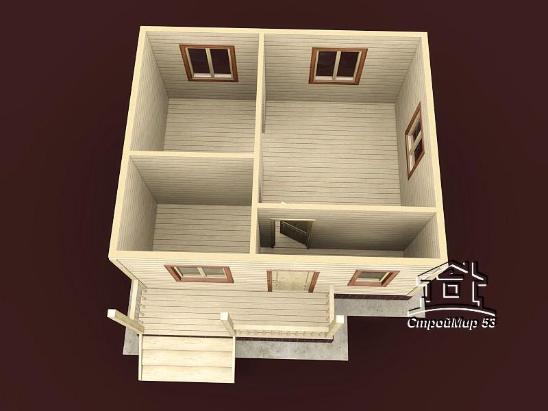 Одноэтажный дом из бруса 6х6 по проекту Д-11