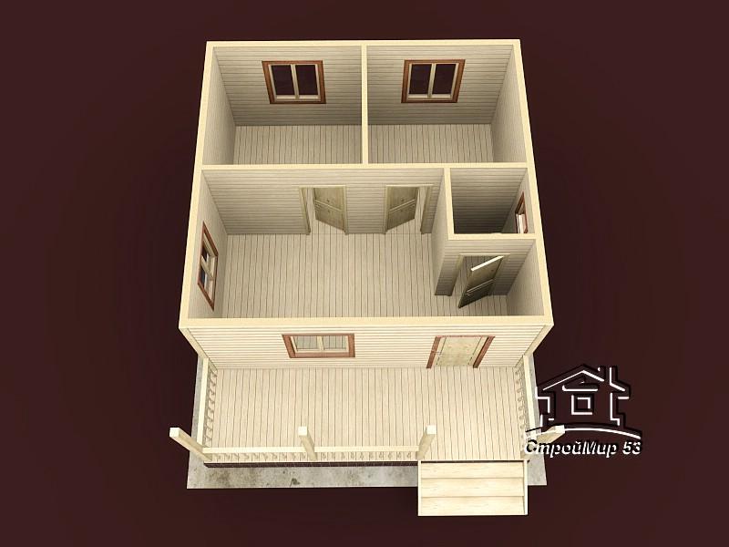 Одноэтажный дом из бруса 6х7,5 по проекту Д-13