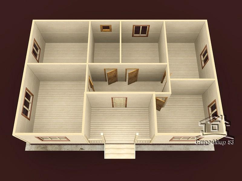 Одноэтажный дом из бруса 8х12 по проекту Д-20