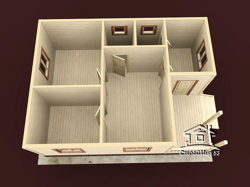 Одноэтажный дом из бруса 8х6 по проекту Д-14