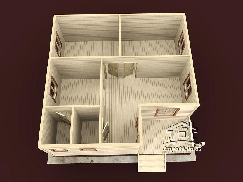Одноэтажный дом из бруса 8х8 по проекту Д-16