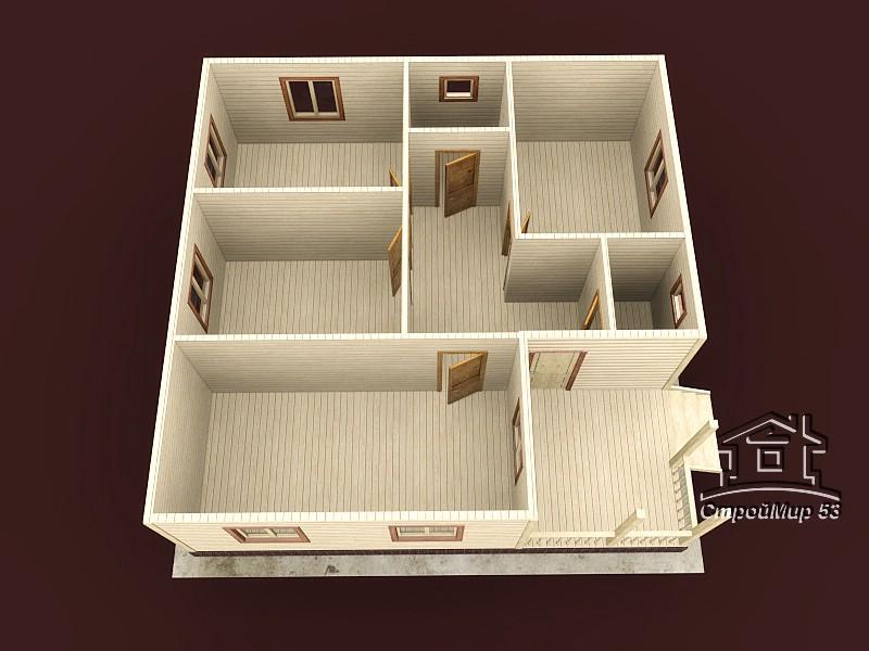 Одноэтажный дом из бруса 9х9 по проекту Д-19