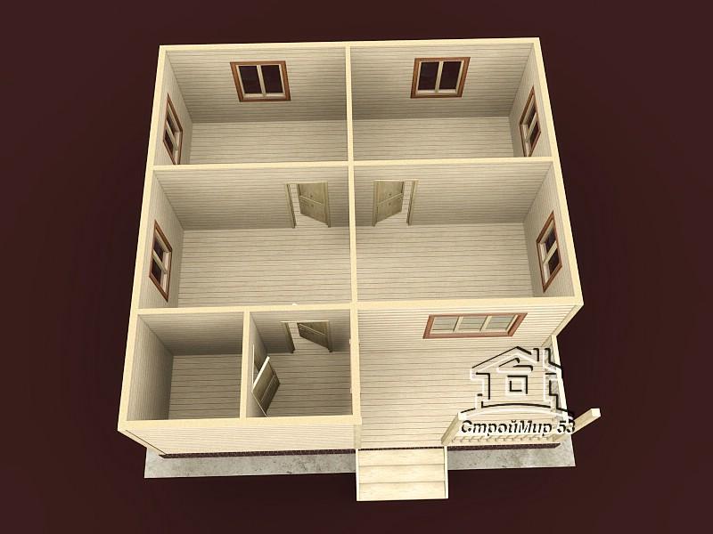 Одноэтажный дом из бруса 8х8 по проекту Д-17