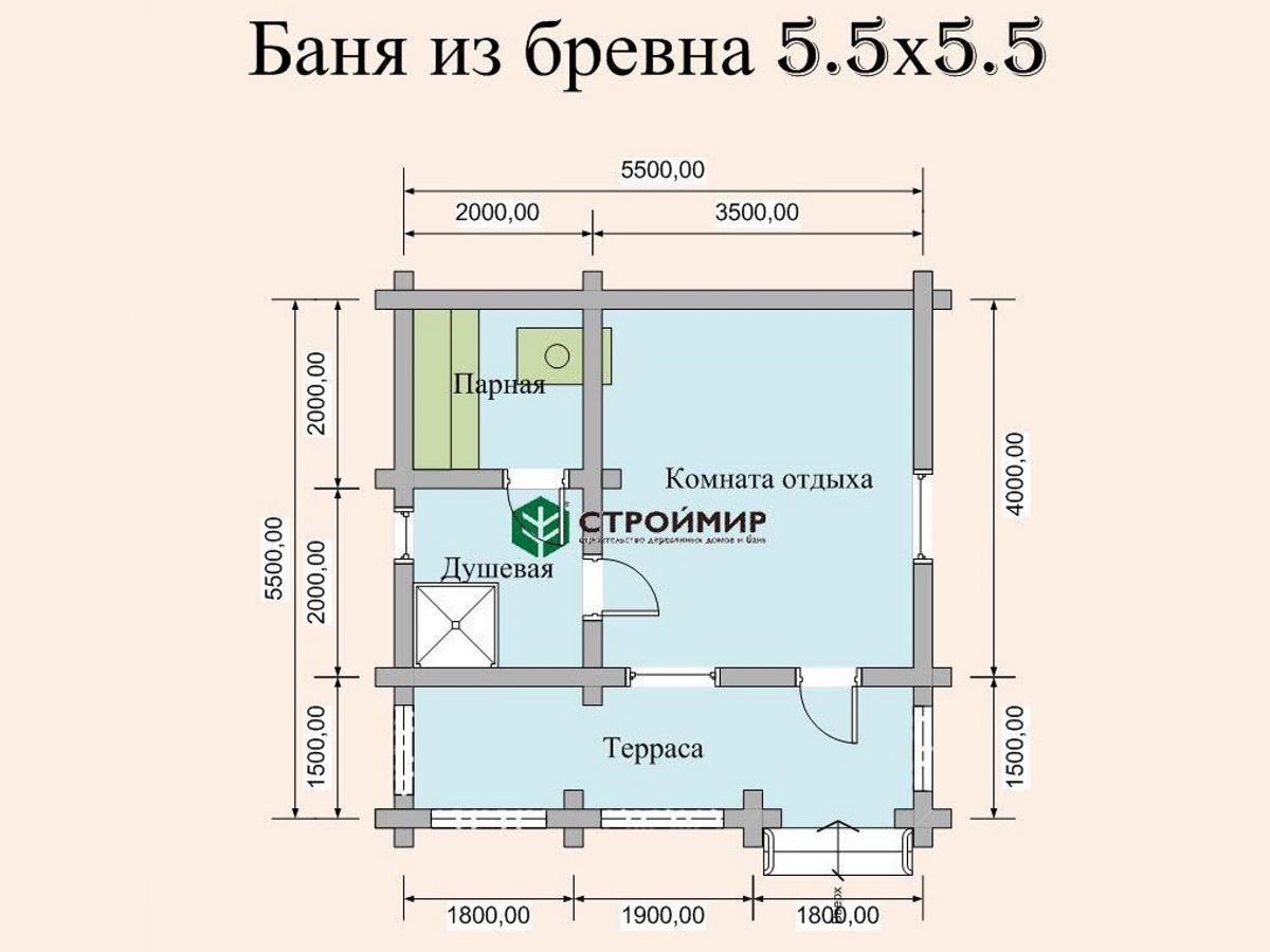 Баня 5,5х5,5 из оцилиндрованного бревна по проекту ББ-2