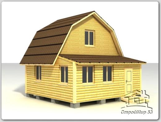 строительство дома 6х4 с верандой из бруса