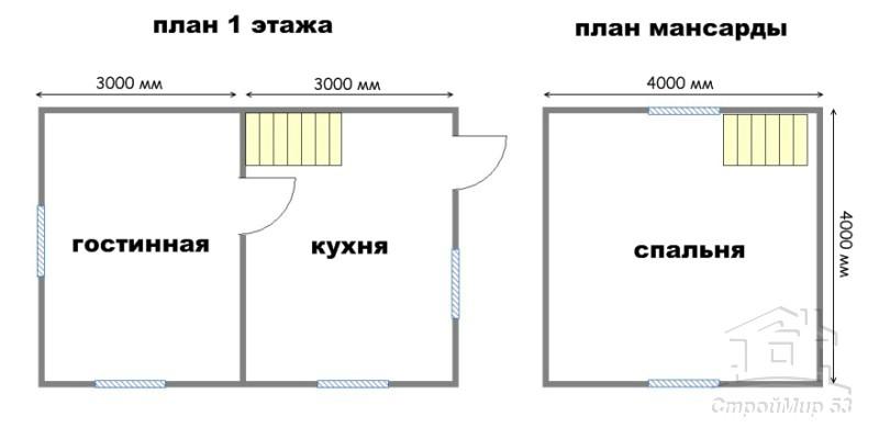 план дома 4х6