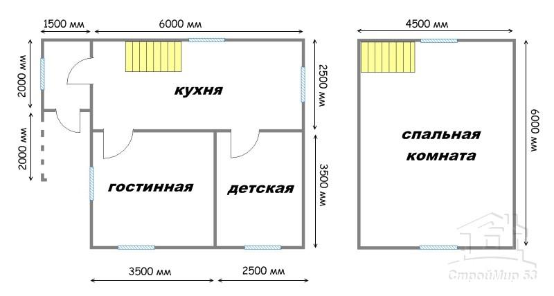 проект дома 6х7,5 из бруса