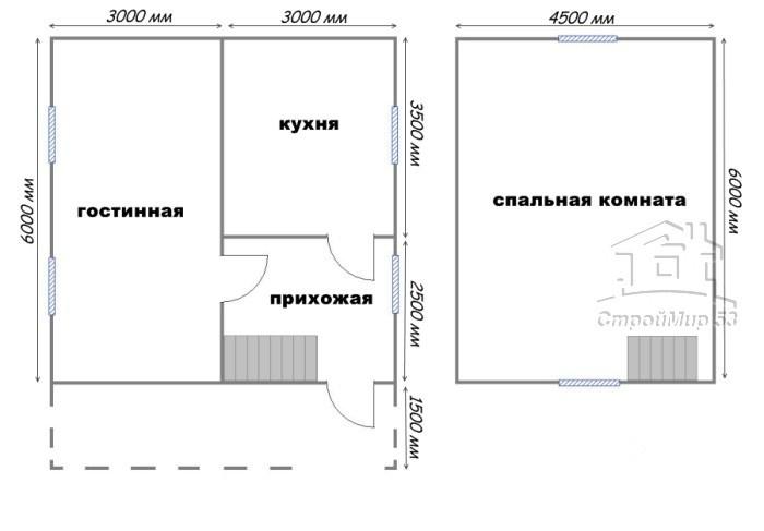 план дома 6х7.5