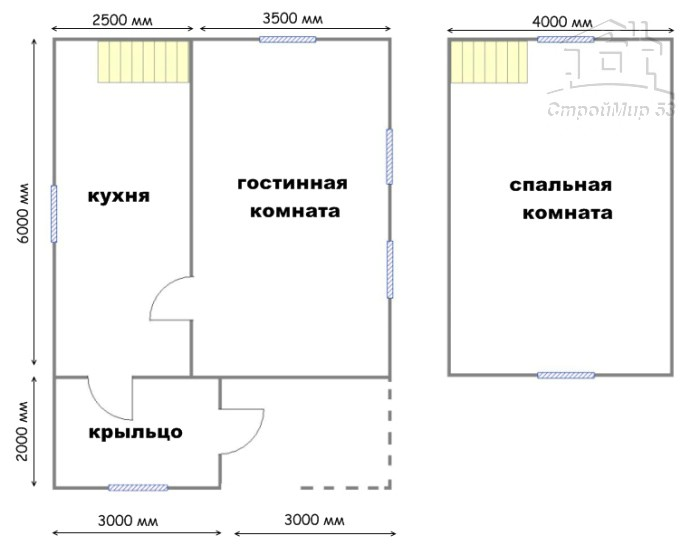 план дома 8х6