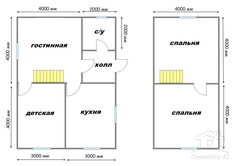 план деревянного дома 6х8