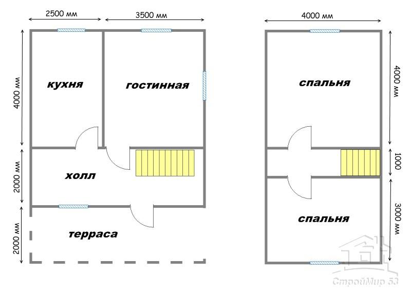 проект дома 6х8 с террасой