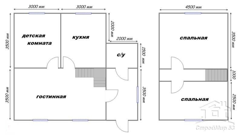 план дома 7х8