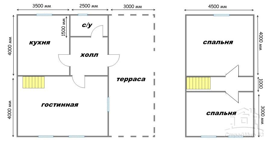 проект дома 9х8 с террасой
